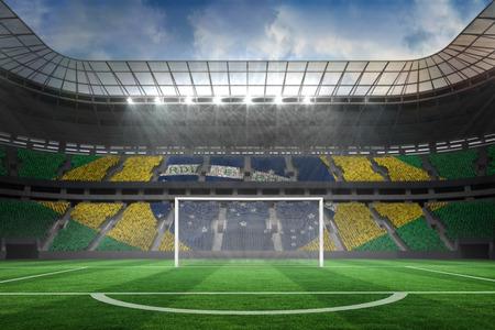 goalpost: Digitally generated vast football stadium with goal Stock Photo
