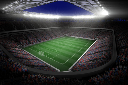 football pitch: Digitally generated large football stadium with lights