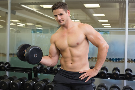 Shirtless bodybuilder lifting heavy black dumbbell looking at camera at the gym photo