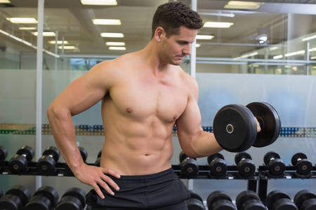 Shirtless bodybuilder lifting heavy black dumbbell at the gym photo