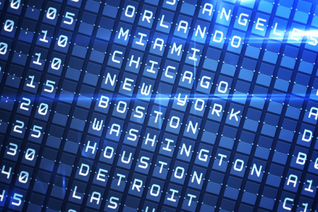 Digitally generated blue departures board for major usa cities photo