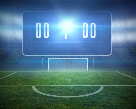goalpost: Digitally generated football pitch with goalpost and scoreboard