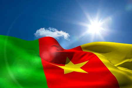 cameroonian: Digitally generated cameroon national flag under sunny sky