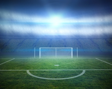 goalpost: Digitally generated football pitch with goalpost in stadium