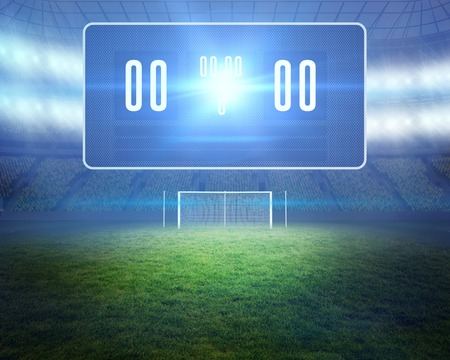 Digitally generated football pitch with goalpost and scoreboard