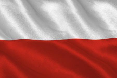bandera de polonia: Generada digitalmente pantalla llenado bandera ondulante polaco Foto de archivo