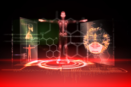 Digitally generated medical interface in red and black Stock Photo