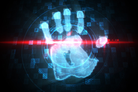 Digital security hand print scan in blue and black