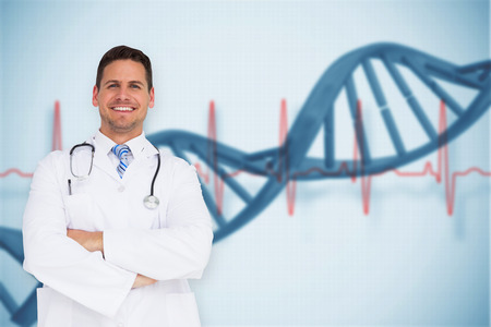 Handsome doctor with arms crossed against blue medical background with dna and ecg photo