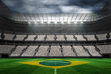 stadium crowd: Digitally generated brazilian national flag against football stadium with fans in white Stock Photo