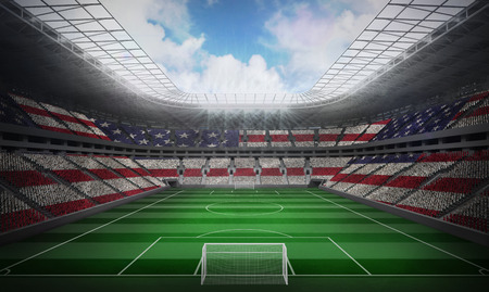 spangled: Digitally generated american national flag against football stadium Stock Photo
