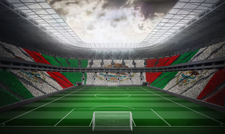 Digitally generated mexican national flag against football stadium photo