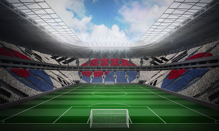 Korea republic national flag against football stadium photo