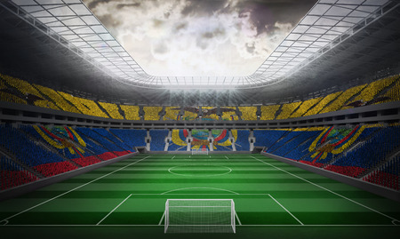 Digitally generated ecuador national flag against football stadium photo