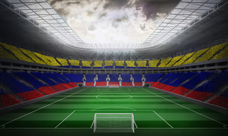 Digitally generated colombia national flag against football stadium photo