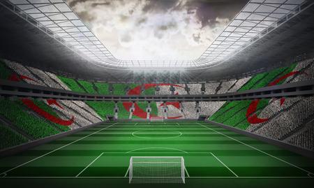 algerian flag: Algerian flag against football stadium