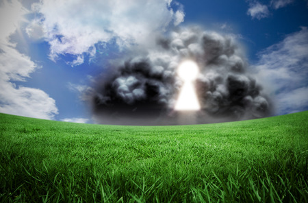 computer security: Composite image of key hole in cloud against green field under blue sky Stock Photo