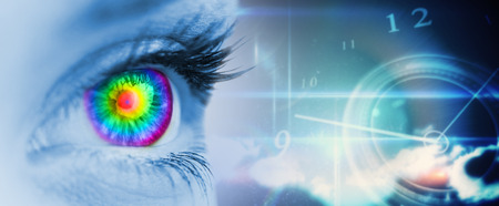 Pyschedelic eye on blue face against blue glowing technology design with clock photo
