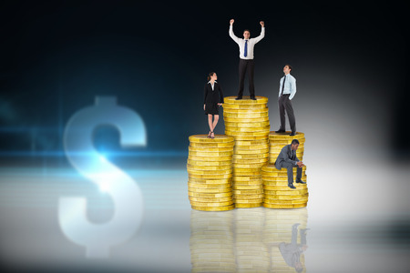 Composite image of business people on pile of coins against dollar sign on futuristic background photo