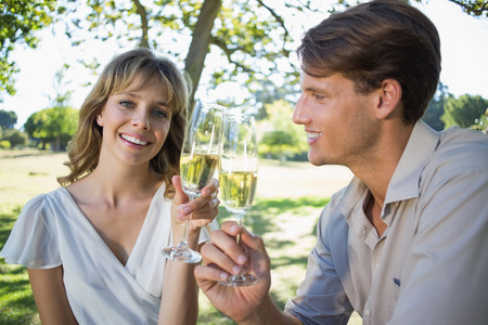 Cute smiling couple sitting outside toasting with champagne on a sunny day photo