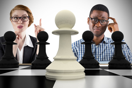 Composite image of business people with chessboard against white background with vignette photo