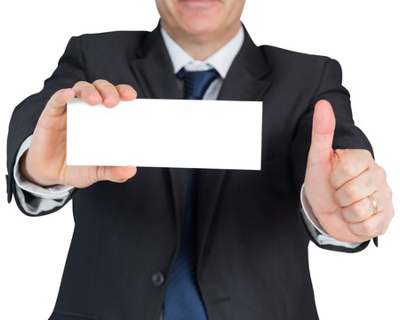 Mature businessman showing blank card on white background photo