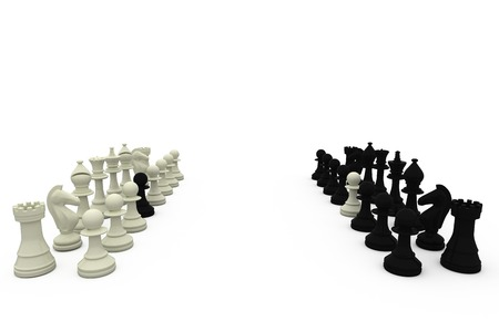 Chess pawns on rival teams on white background
