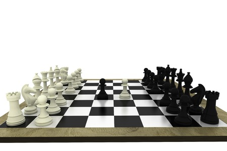 tactical: Black and white chess pieces on board on white background