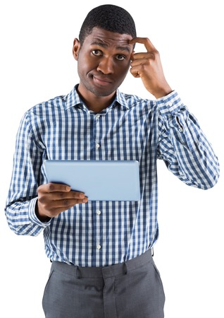 Young businessman thinking and holding tablet on white background photo