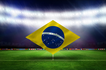 Digitally generated brazilian national flag against football pitch with world cup flags photo