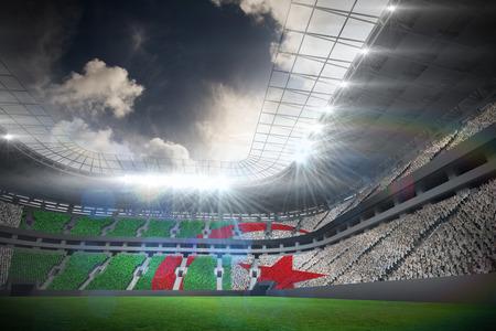 algerian flag: Algerian flag against football stadium with fans in white