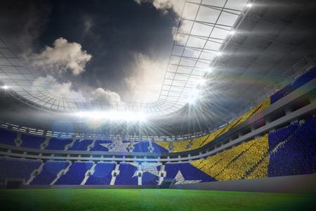 bosnian: Digitally generated bosnian flag against football stadium with fans in white Stock Photo