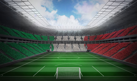 Digitally generated italian national flag against football stadium photo