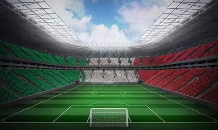 Digitally generated italian national flag against football stadium