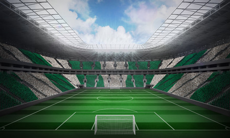 Digitally generated nigerian national flag against football stadium photo
