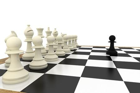 Black pawn facing white pieces on white background
