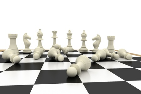 fallen: Fallen white pawns on chess board on white background