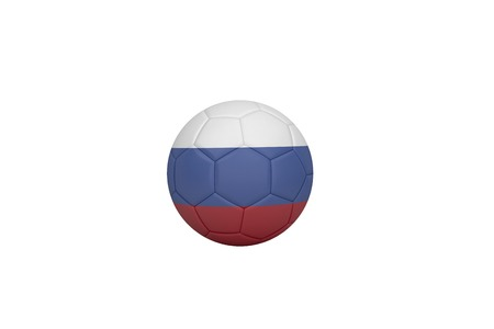 Football in russia colours on white background photo