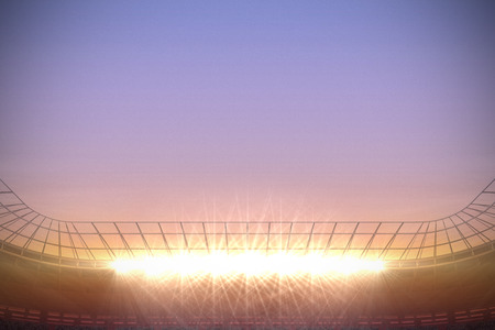 Digitally generated large football stadium under purple sky photo