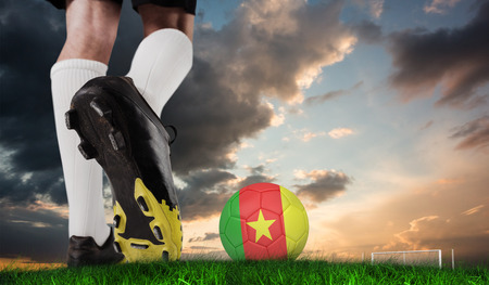 Composite image of football boot kicking cameroon ball against green grass under blue and orange sky photo