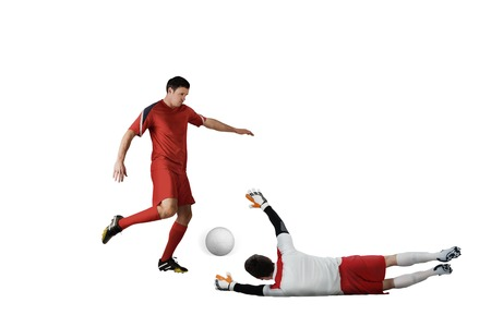 Football players tackling for the ball on white background Stock Photo - 29053700
