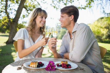 Cute happy couple sitting outside toasting with champagne with dessert on a sunny day photo
