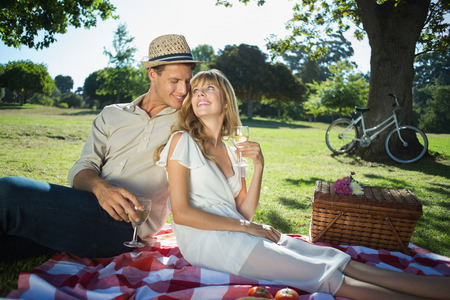 Cute couple drinking white wine on a picnic smiling at each other on a sunny day Stock Photo