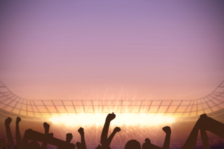 cheering crowd: Digitally generated football stadium with cheering crowd