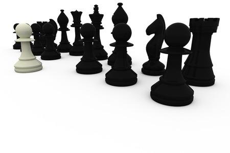opposition: White pawn facing black opposition on white background Stock Photo