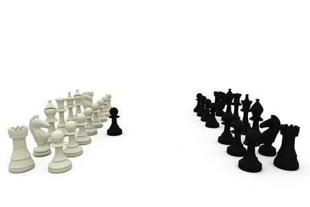 Black pawn defecting to white side on white background Stock Photo