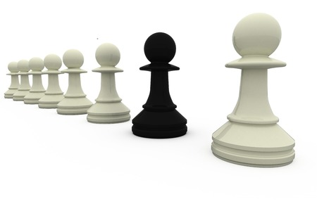 traitor: Black chess pawn standing with white pieces on white background
