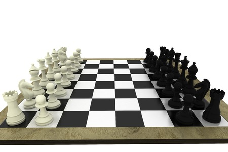 Black and white chess pieces on board on white background photo