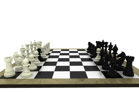 Black and white chess pawns defecting on white background