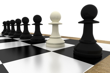 White pawn standing with black pawns on white background Stock Photo